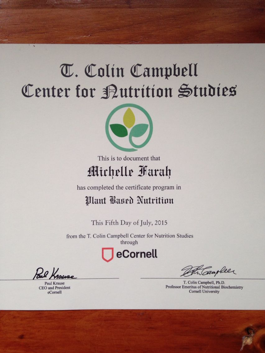My Certificate Plant Based Nutrition Plant Based Nutrition Nutrition Plant Based