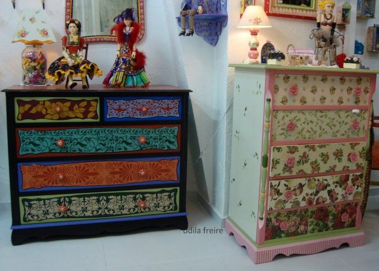 Muebles pintados painted upcycled furniture pinterest for Hacer decoupage en muebles