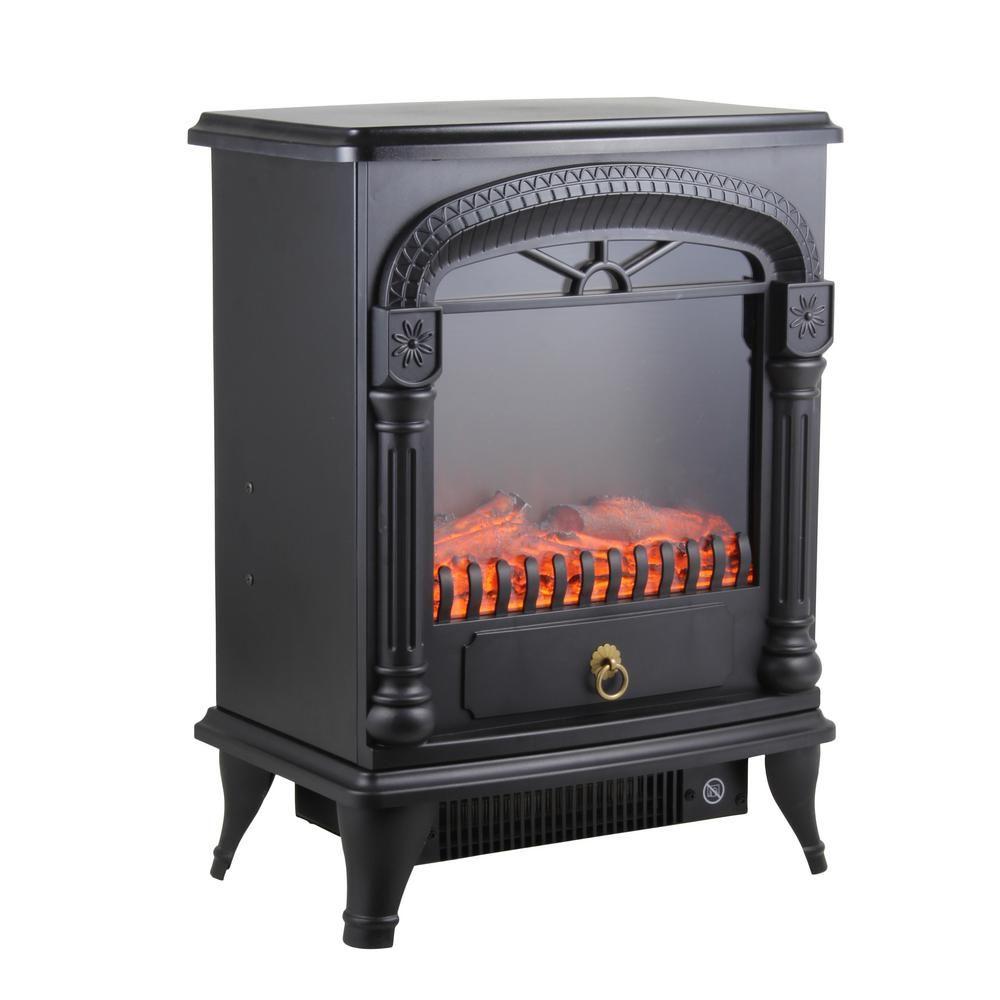 Comfort Zone 1 500 Watt Black Electric Fireplace Stove Heater With