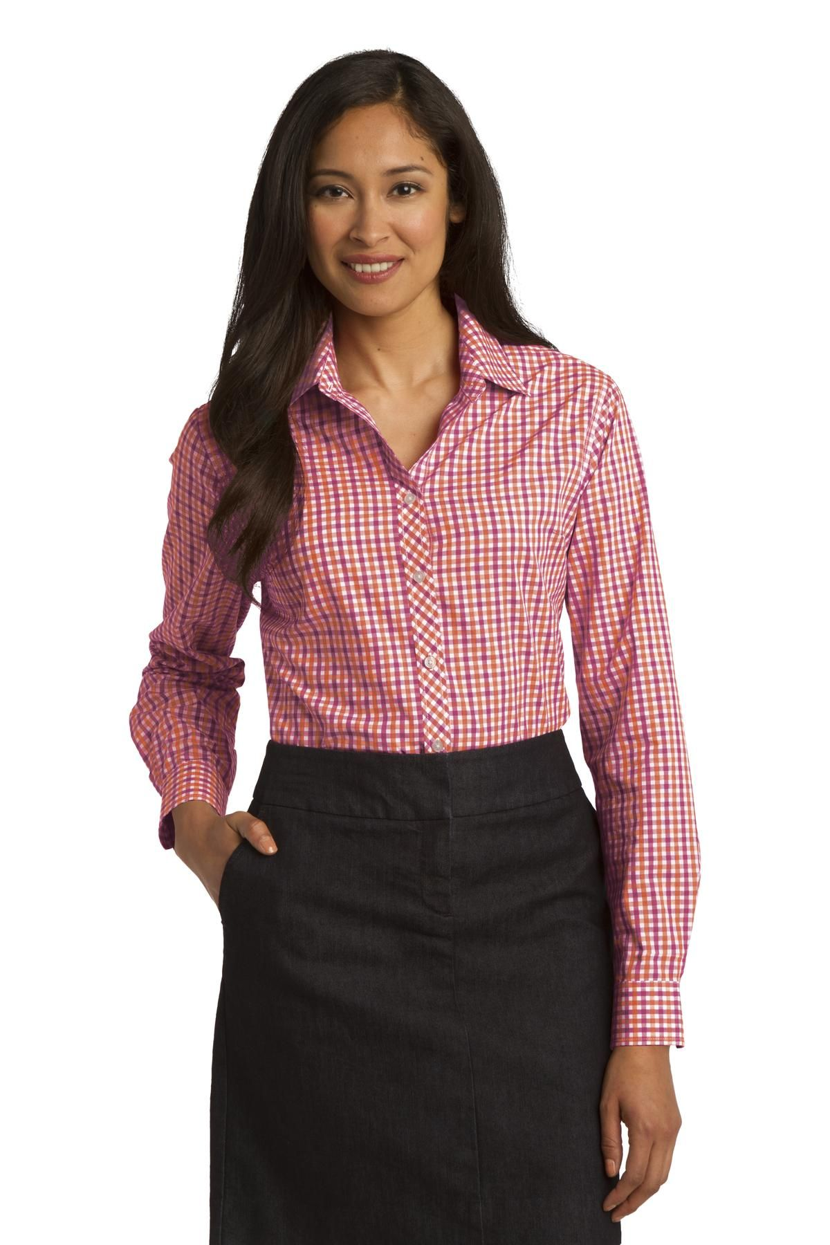New port authority ladies long sleeve gingham easy care shirt