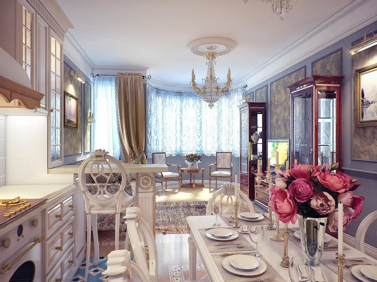 Kitchen Classical Dining Room Decor Plates Rose Flower Red Cups Glass Window Painting Art Cupboard Curtain Modern Lighting White Ceiling Chandelier