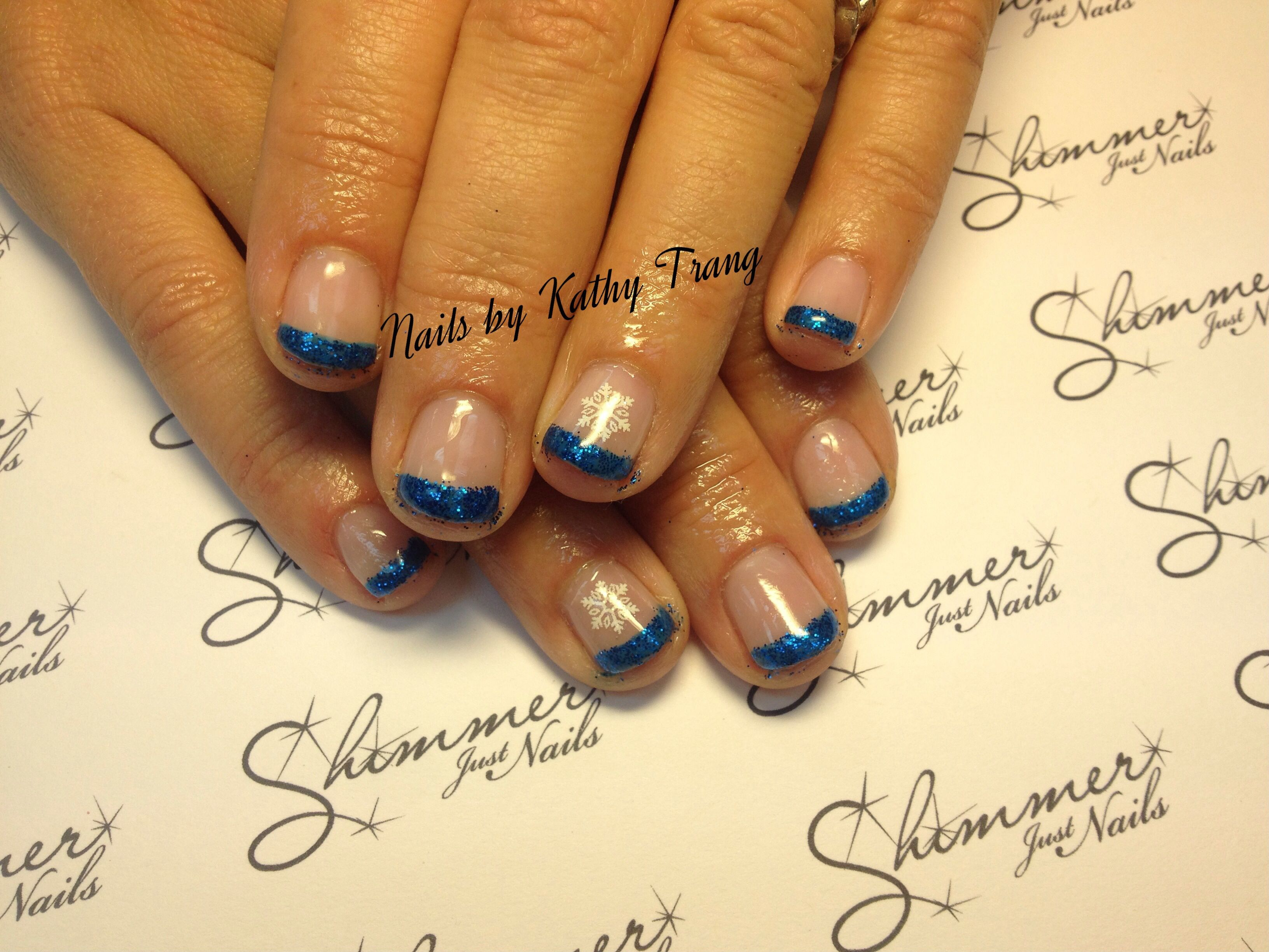 Glitter Blue French tips with snowflake Gel Polish Nails 2013 ...