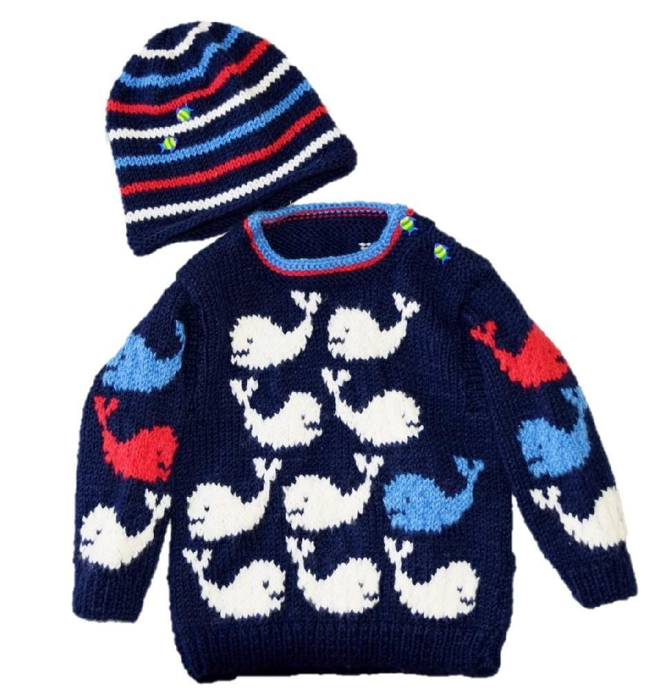 Pod of Whales Baby Sweater and Hat   Baby sweaters, Knitting ...