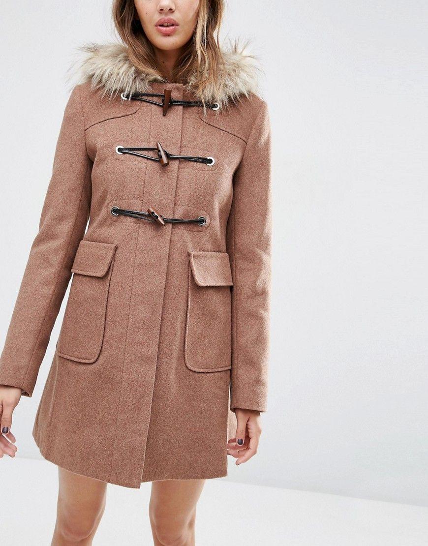 e9fdac320f1 Wool Blend Faux Fur Hooded Duffle Coat