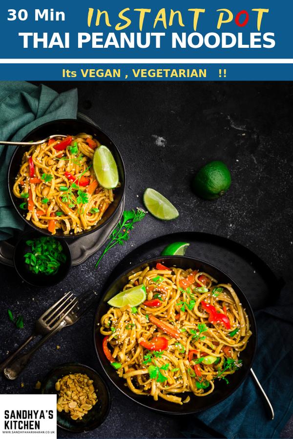 Instant Pot Thai Peanut Noodles Recipe Fantastic Recipes From Around The Web Thai Peanut Noodles Vegetarian One Pot Meals Peanut Noodles