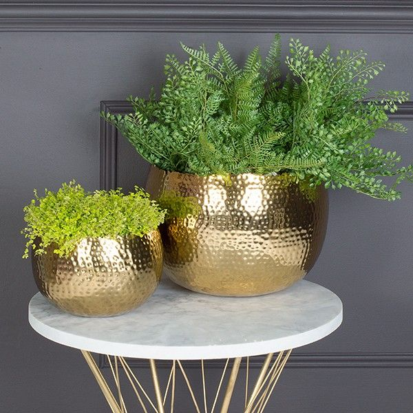 Hammered Gold Plant Pots Available From Miafleur
