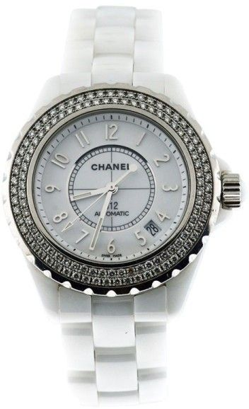 a32720a22f3 Chanel J12 Two Row Stainless Steel Diamond Bezel 38mm White Ceramic Watch