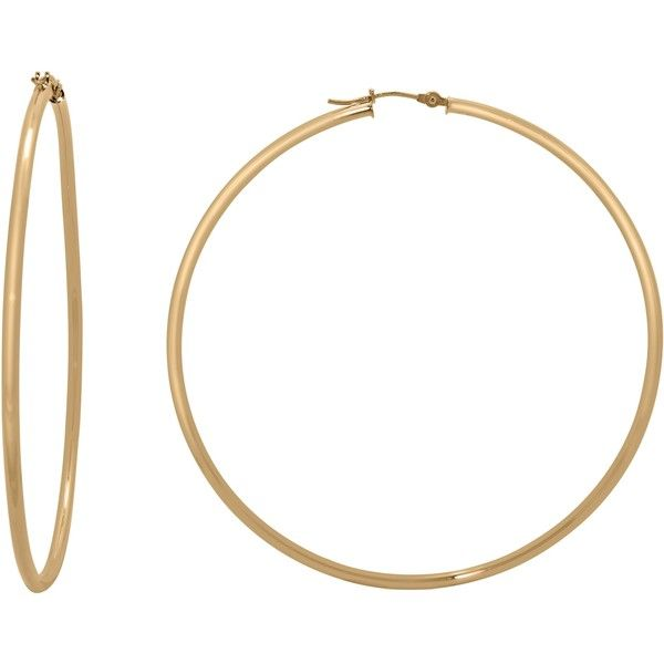 Gioelli 14k Gold High Polish 65mm Round Hoop Earrings ($618) ❤ liked on Polyvore featuring jewelry, earrings, yellow, rose earrings, gold earrings, 14k gold earrings, 14k hoop earrings and long earrings
