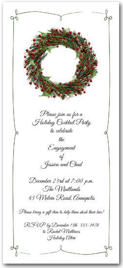 Evergreen wreath christmas invitations evergreen wreath holiday invitation stopboris Gallery