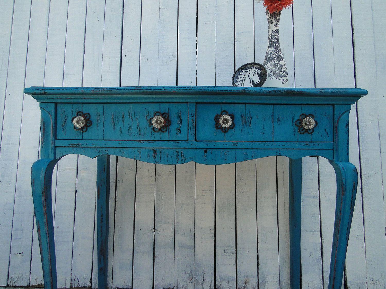 Wooden Desk Vanity Entry Table In Distressed Teal