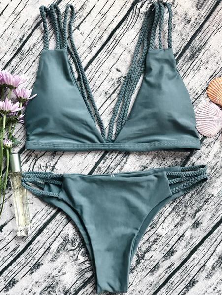 Low Cut Strappy Bralette Bikini Army Green M Women
