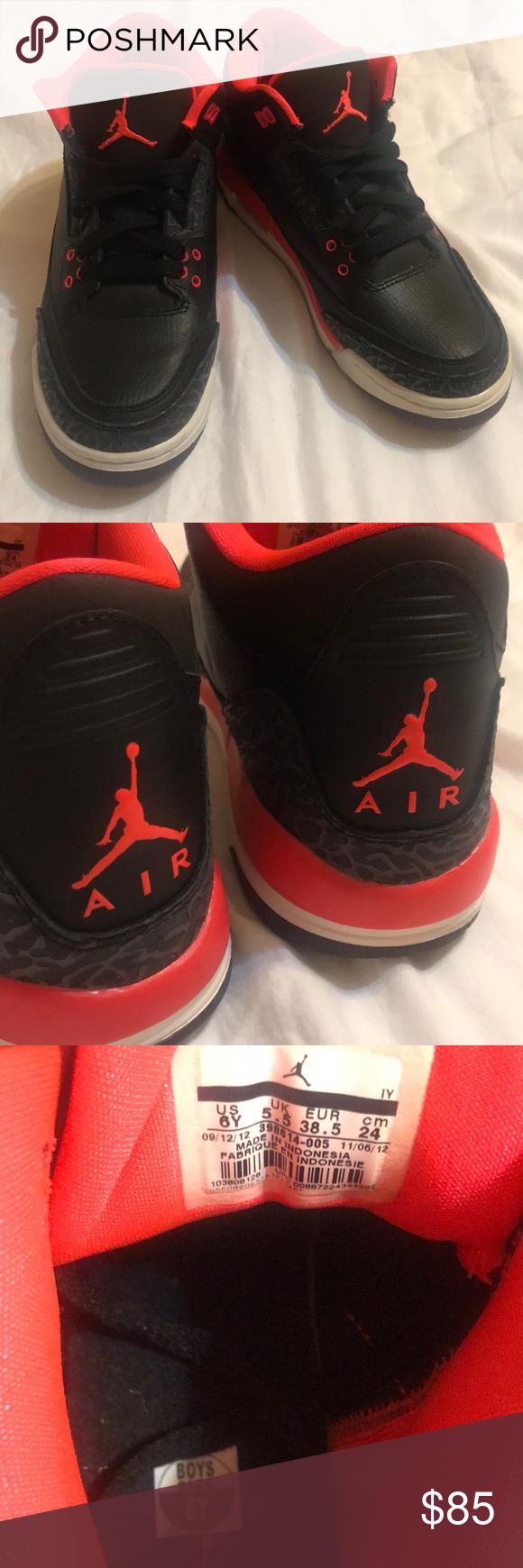 70f4286733d Nike Air Jordan Retro 3 Bright Crimson Boys Size 6 (I m a true 7 in ...