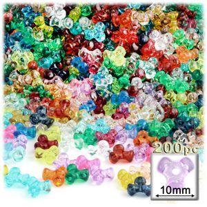 Plastic Beads, Tribead Transparent, 10mm, 200-pc, Multi Mix