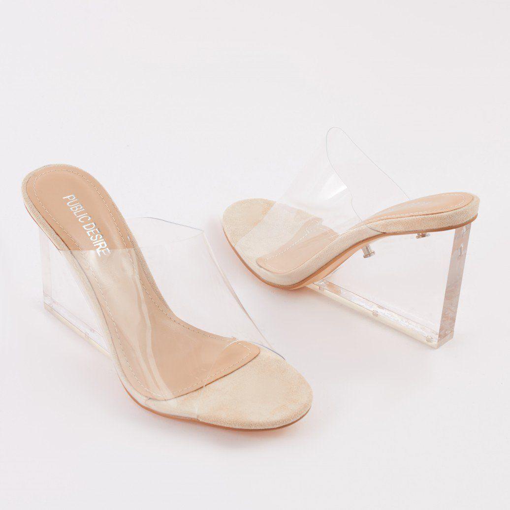 c16f5c3998 Maliboo Clear Perspex Mule with Wedge Heel | i'd own that | Heels ...