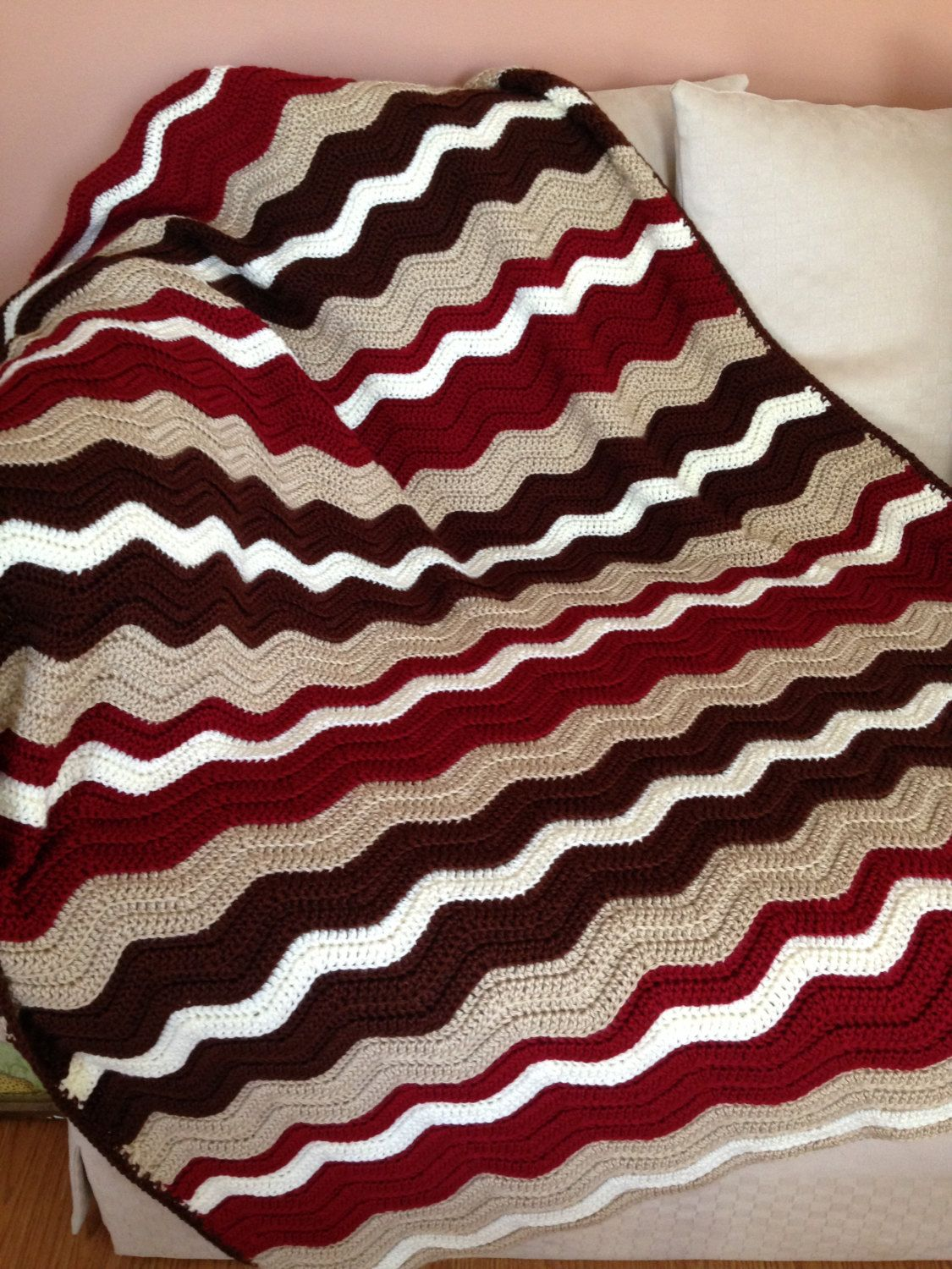 Chevron Multi Color Crochet Afghan, Brown Beige Red White Striped ...