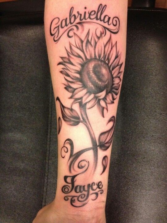 394e9c34b Sunflower tattoo with kids names | All the Pretty Things | Tattoos ...