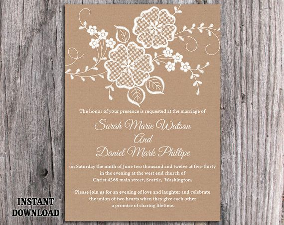 Lace Wedding Invitation Template Download Printable Invitations - vintage invitation template