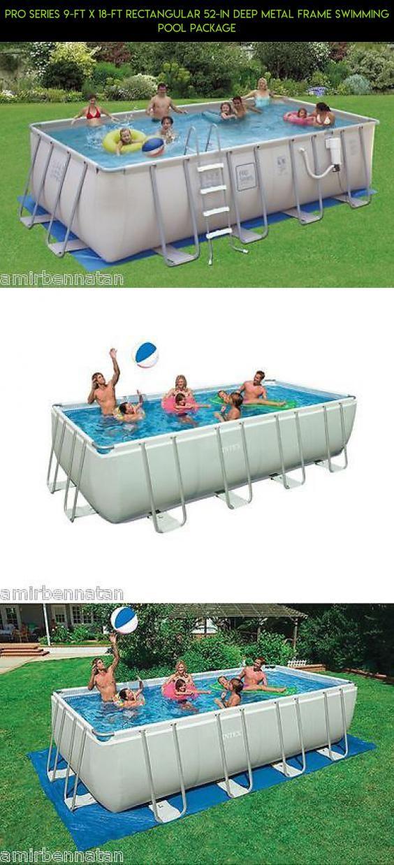 PRO Series 9-ft x 18-ft Rectangular 52-in Deep Metal Frame Swimming ...