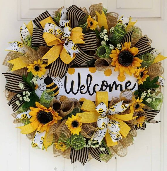 Photo of Sunflower Welcome wreath, Bumble Bee wreath, spring mesh wreath, spring burlap wreath, welcome wreath, bee wreath, summer wreath