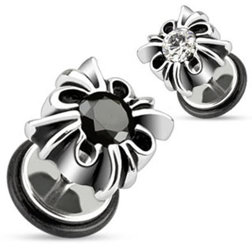 Pair Tribal Cross Fake/Cheater Plugs-316L Surgical Steel, Black-Clear CZ (61k-c) #Stick