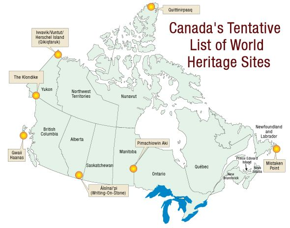 Map of canadas tentative list for world heritage sites amazing map of canadas tentative list for world heritage sites gumiabroncs Images