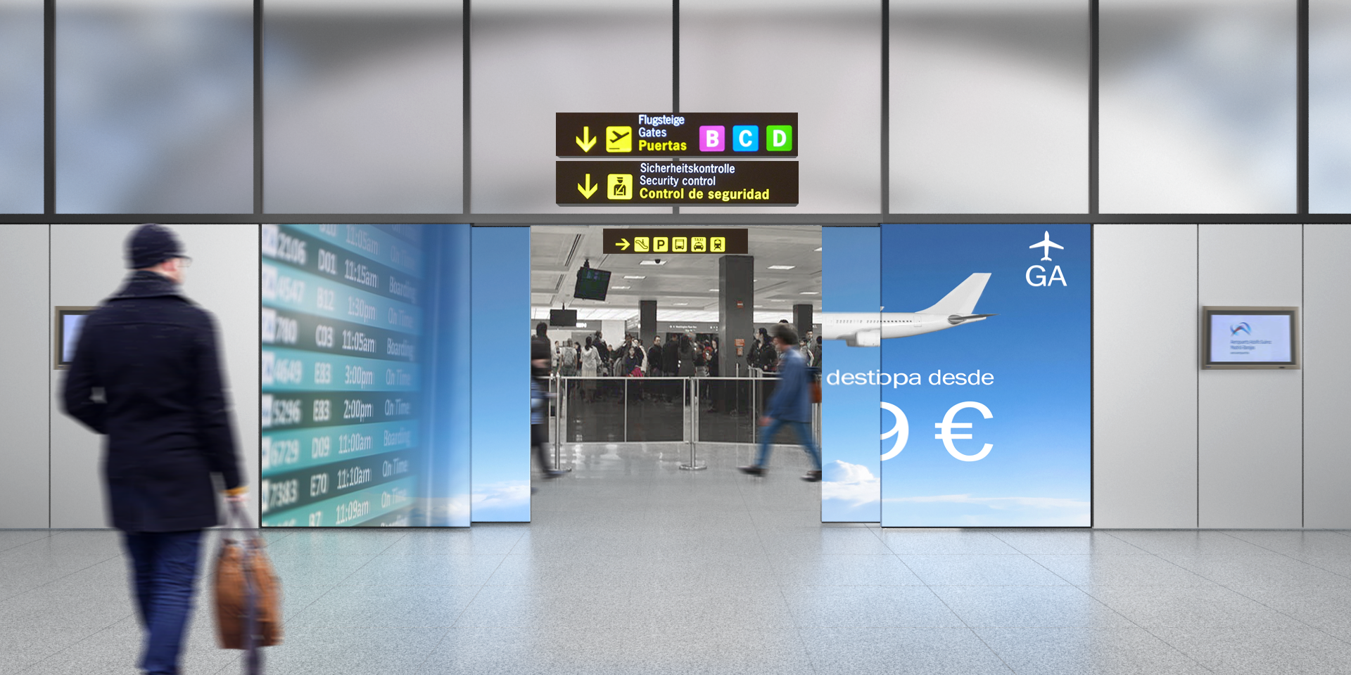 Terminal de embarque o llegadas de un aeropuerto. Pasarán a través de la Fachada Interactiva, miles de personas al día
