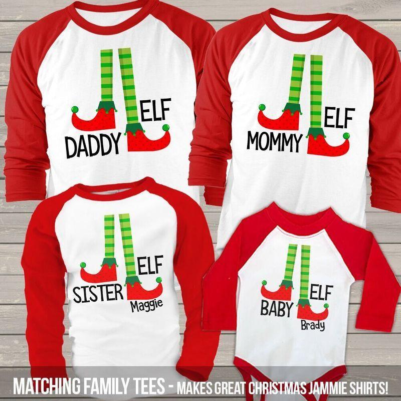 56ccfb7cdfef Christmas elf family matching FOUR raglan shirt gift set