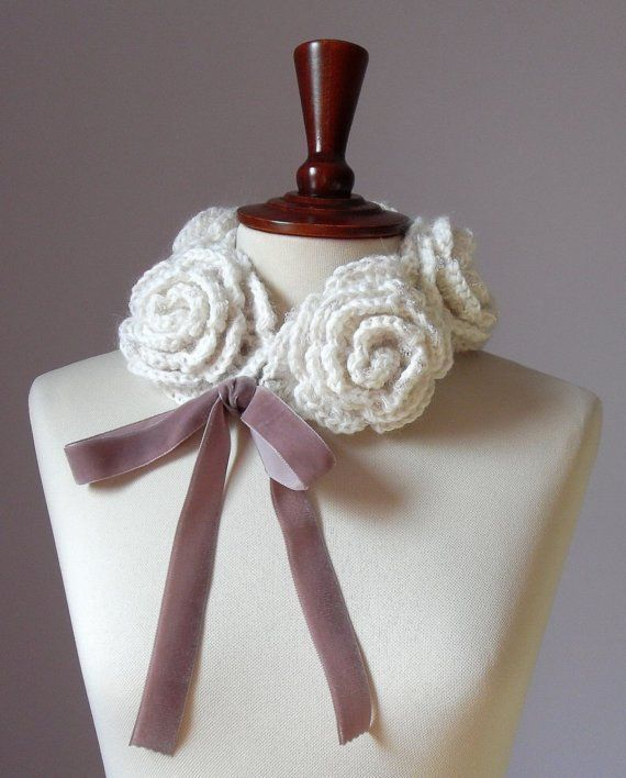 Inspiration           Crocheted Cowl Choker Neckwarmer Powder Pink and White - Handmade - Italian Kid Mohair- FIVE ROSES