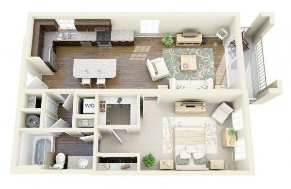 50 Plans en 3D du0027appartement avec 1 chambres Plan gratuit, 3d et