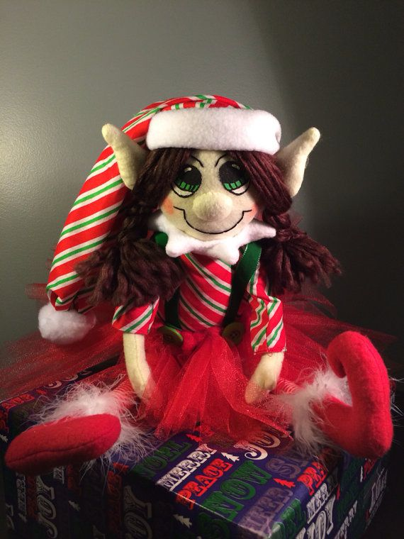 Green and Red  Peppermint Plush Christmas Girl Elf by AmbersElves, $32.00