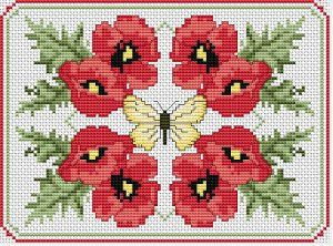 Poppies Composition – poppies with a beautiful butterfly in the center! Free cross stitch pattern from Alita Designs!