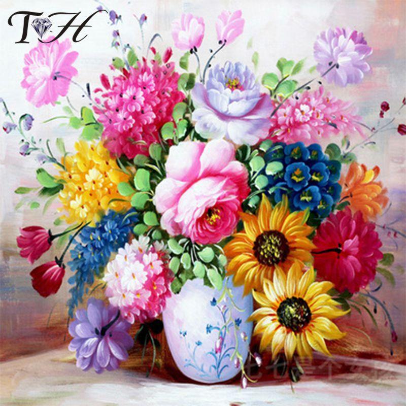 DIY Diamond Painting Cross Stitch Flowers 5D Needlework Mosaic Embroidery Sale