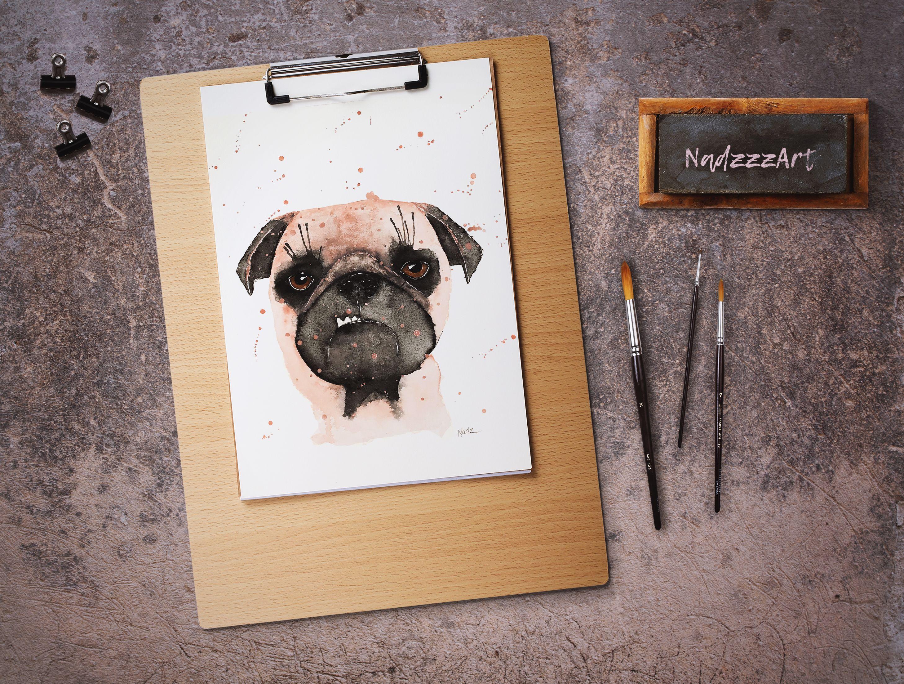 Pug Dog Watercolor Print Idees D Aquarelle Boutique Etsy Et Etsy