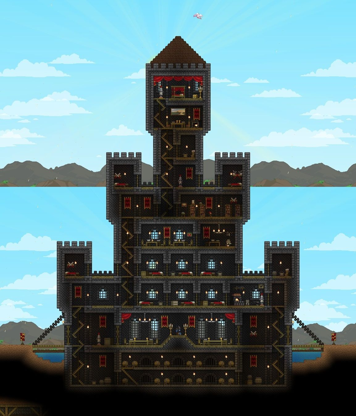 Terraria castle tower castle tower any tips terraria - Made Some Uppgrades Based On Suggestions Imgur Terrariaminecraft Ideasbuilding Ideascowgamingcastlesroom