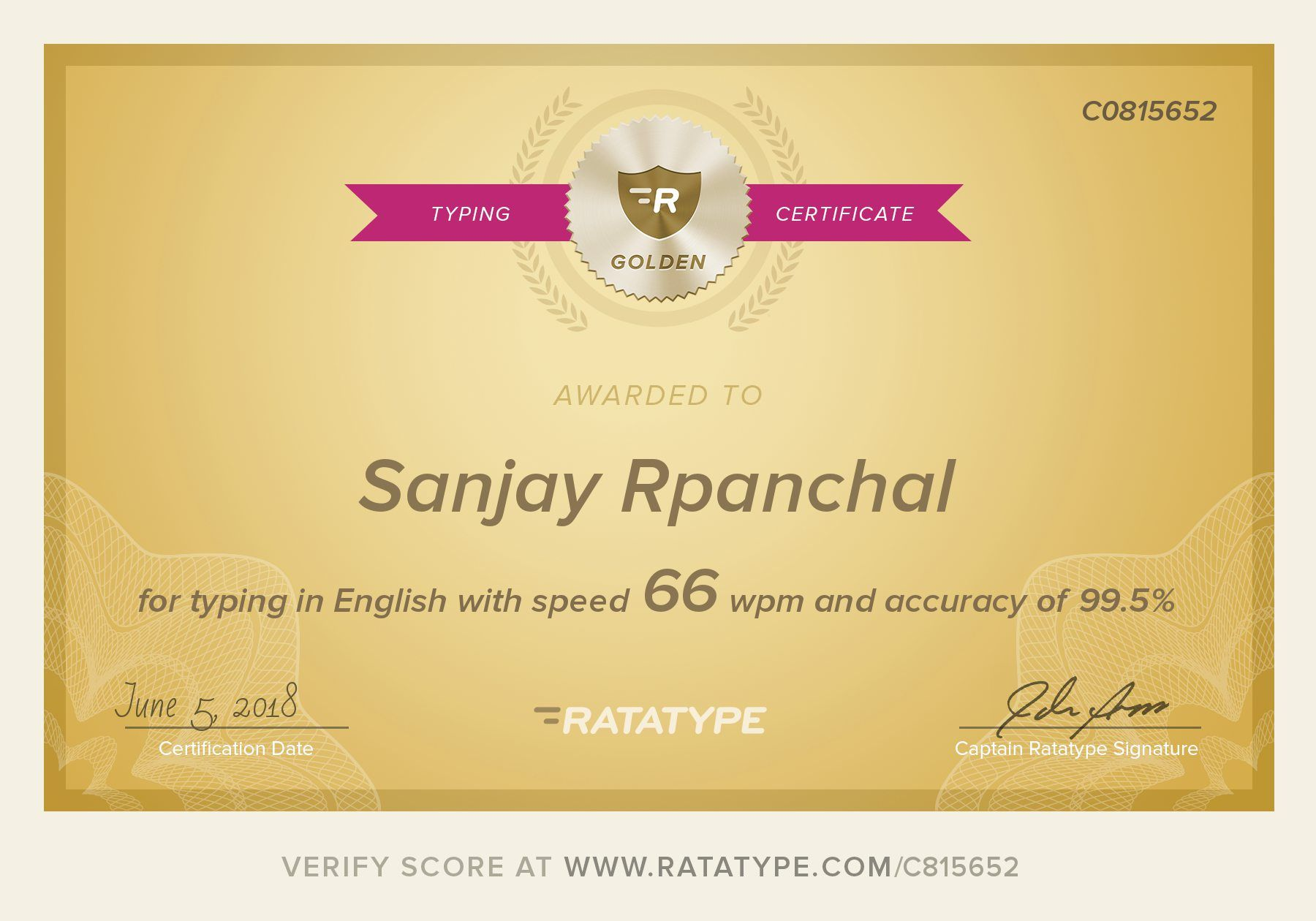 Sanjay Rpanchals Gold Typing Certificate On Ratatype My