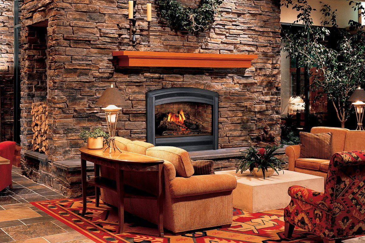 Deslumbrantes Colores Calientes Para Rústico Diseño Interior Con Pared De  Piedra Chimenea También Plantas De Interior Decoración
