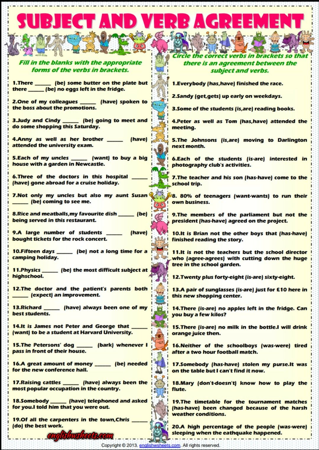 Subject And Verb Agreement Grammar Exercises Worksheet