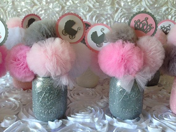 Pink U0026 Gray Baby Shower Decorations, Baby Shower Centerpieces