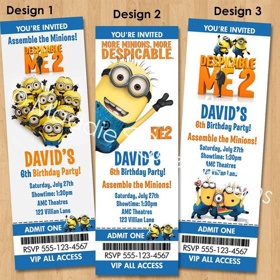 Despicable me 2 invitation printable minions birthday party ticket despicable me 2 invitation printable minions birthday party ticket invite custom personalized digital photo card filmwisefo Gallery