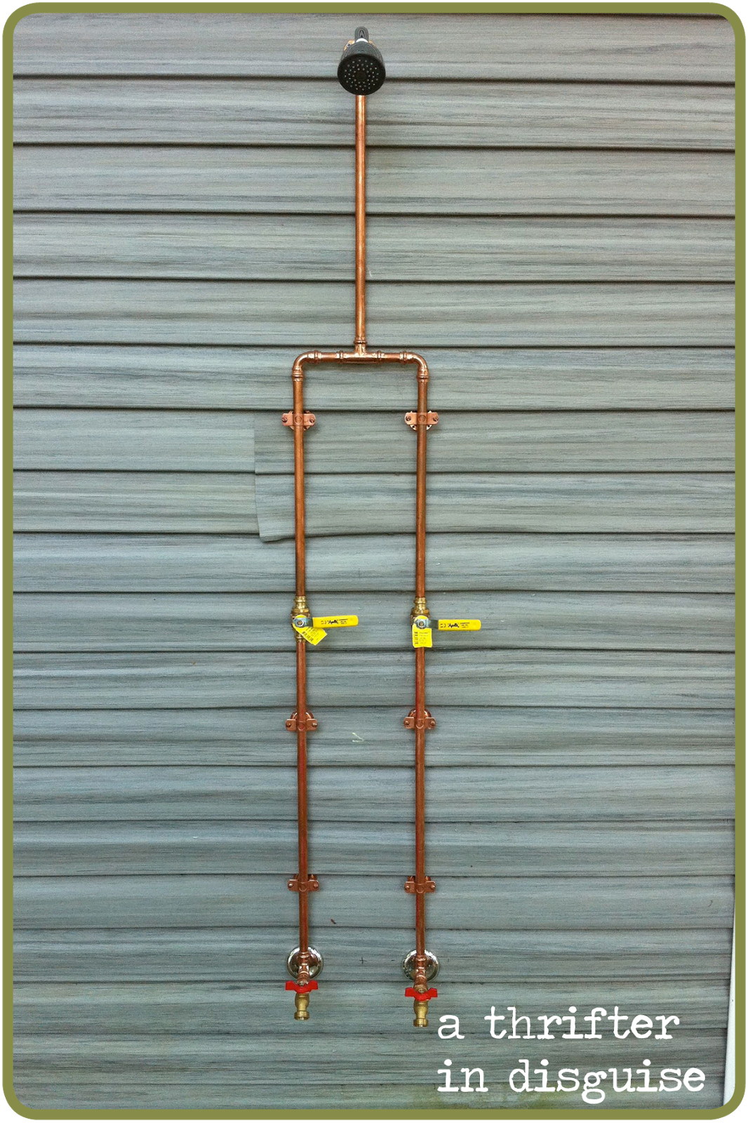 use the copper pipes for interior exposed pipe shower #outdoorshower ...