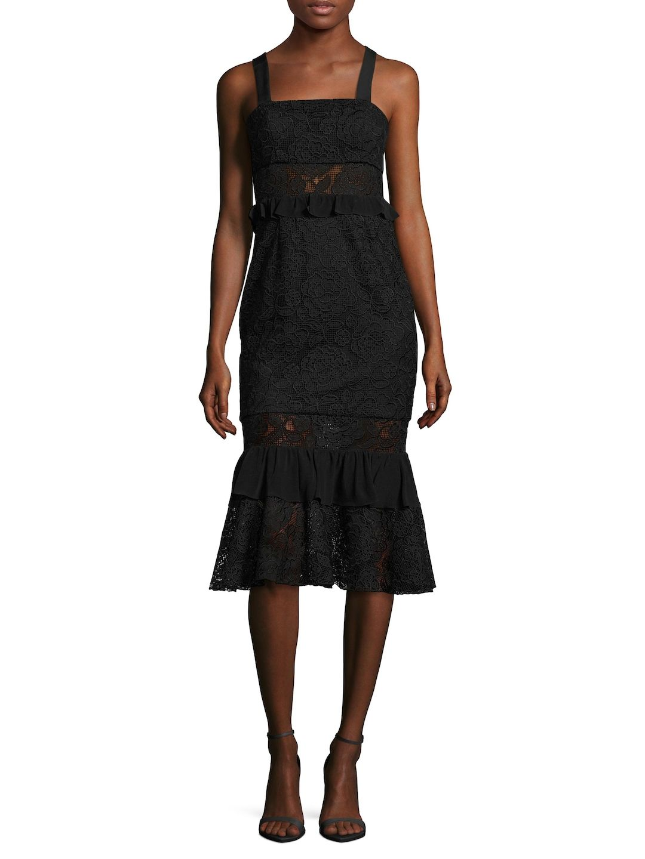 Lace Flounce Midi Dress, Black | Jay, Midi dresses and Black