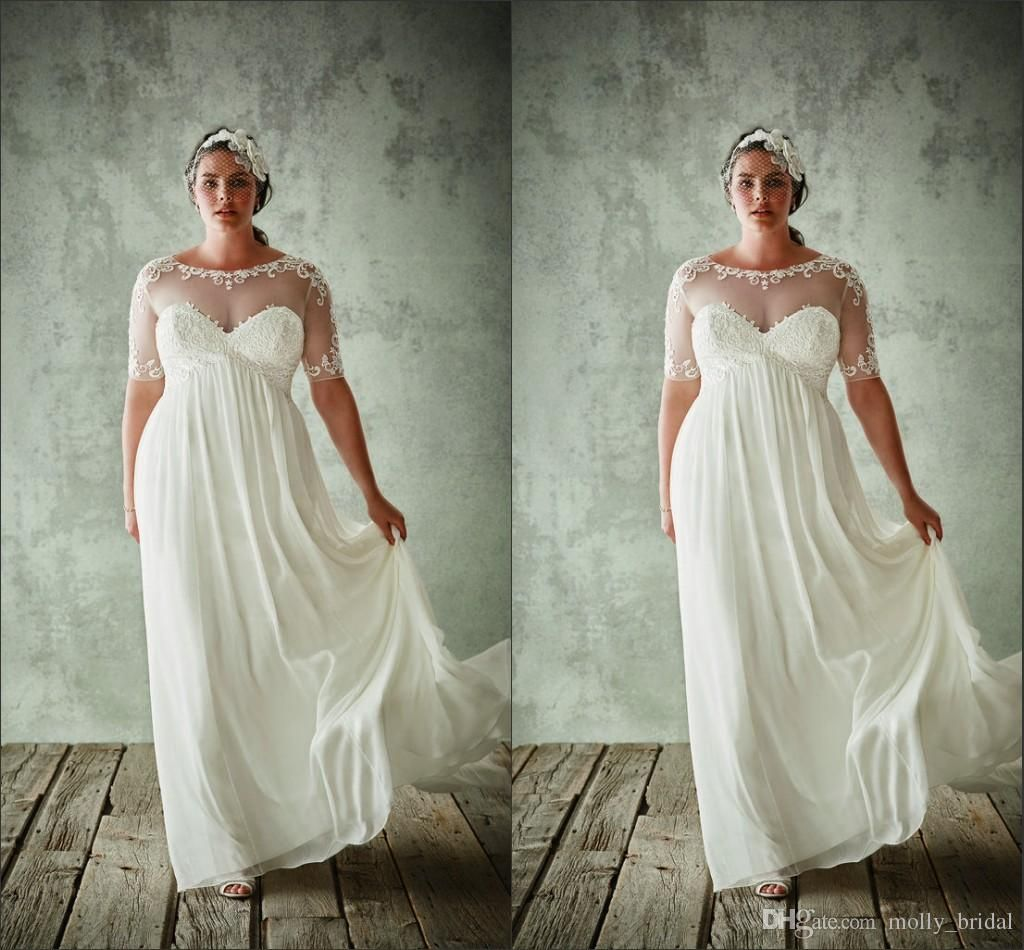 Discount plus size boho wedding dresses new design see though