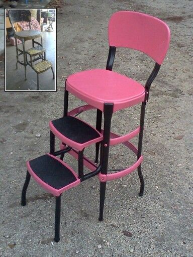 Before And After Of Another Vintage Step Stool Gone Pink