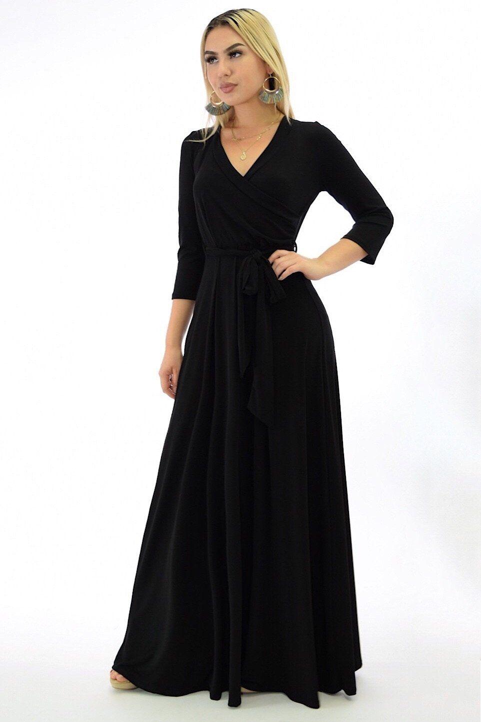 Angelina 3/4 sleeve black flowy maxi dress Dresses