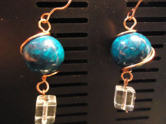 Forest green beaded copper wire wrapped by TellysTreasureChest, $5.00