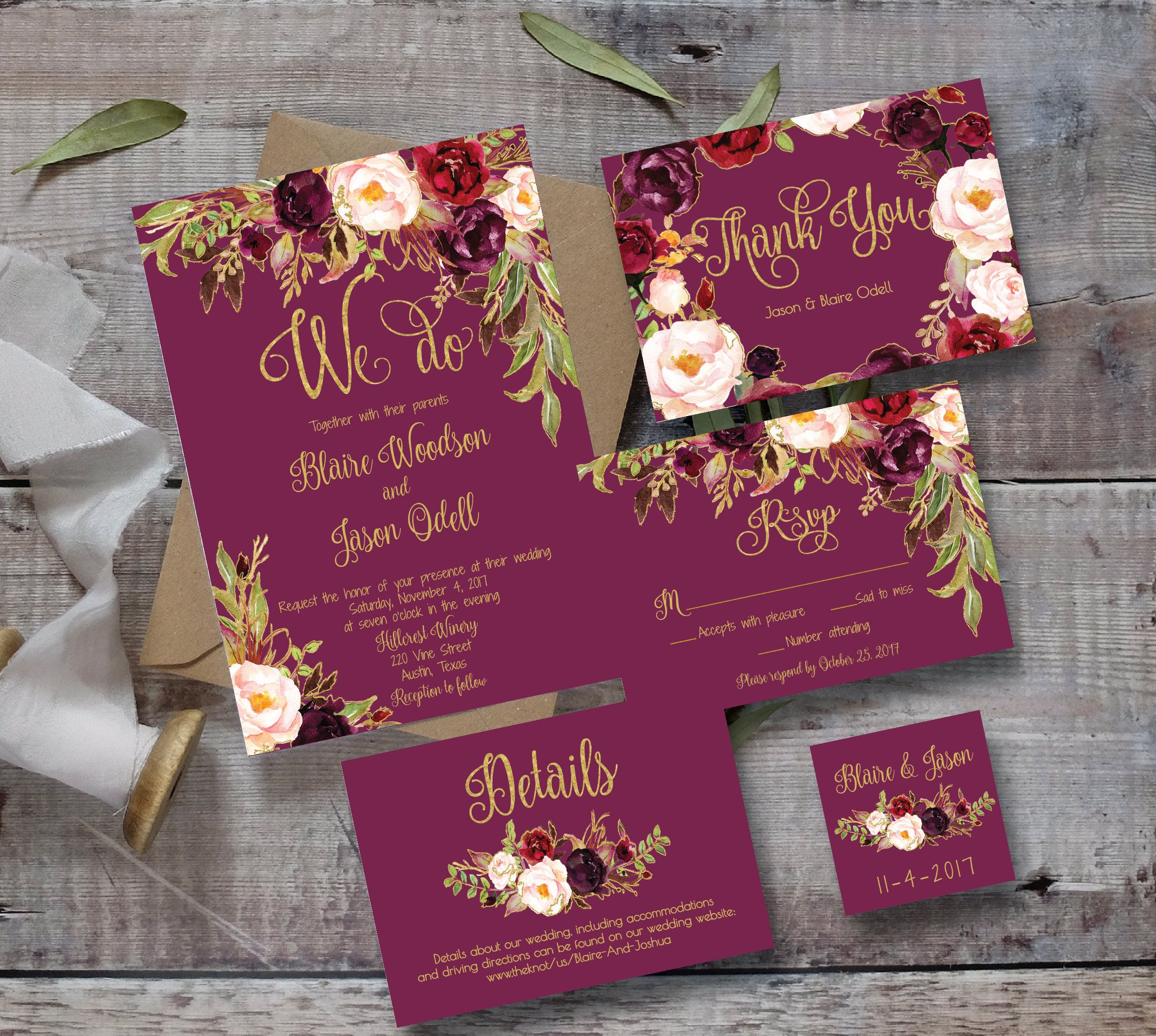 Printable editable marsala wedding invitation diy floral printable editable marsala wedding invitation diy floral monicamarmolfo Image collections