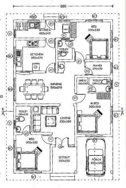 3 Bedroom Attached Singe Floor Budget House Plan With Prayer Room Free Kerala Home Plans Budget House Plans Bungalow Floor Plans Free House Plans