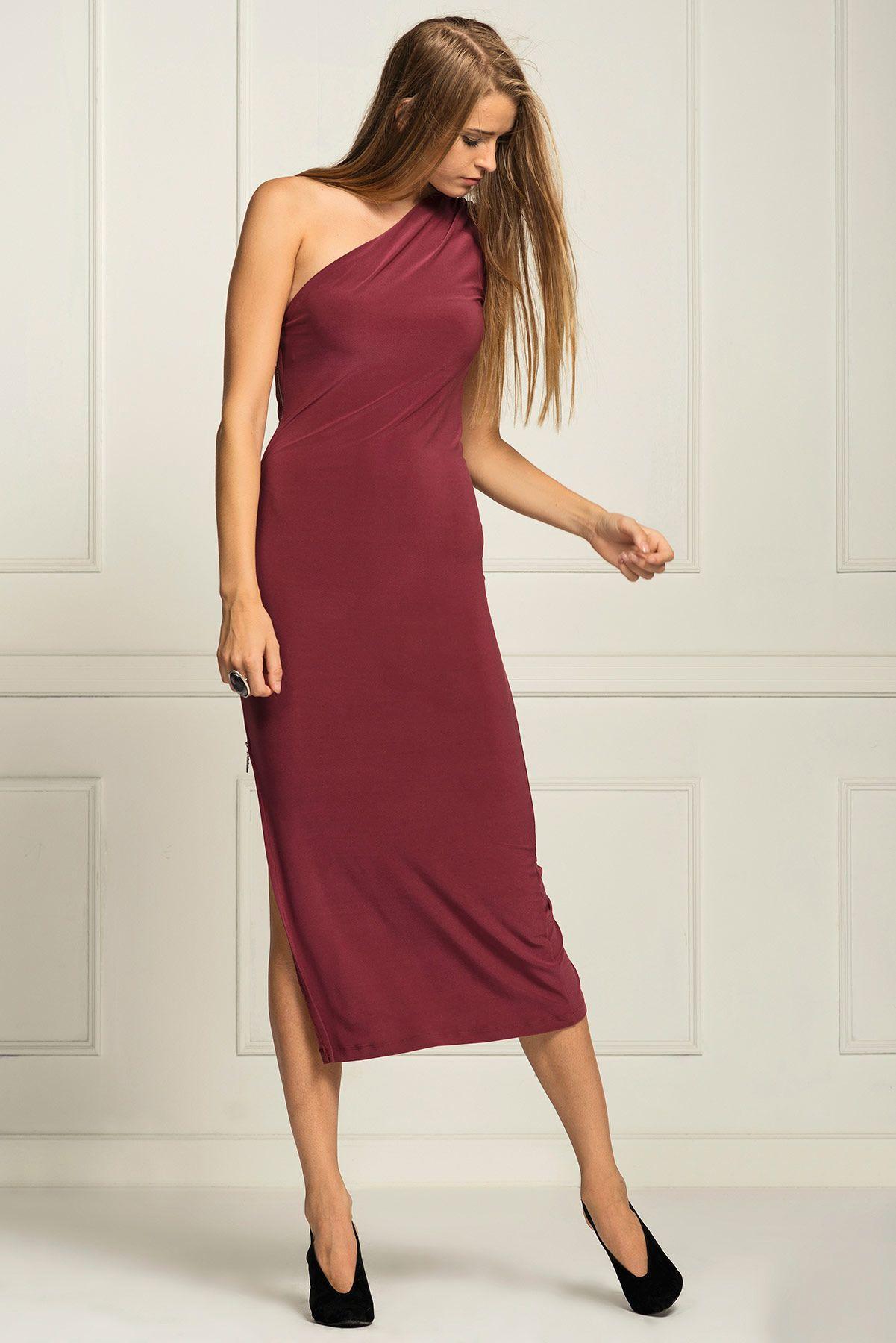 Tek Omuz Yandan Fermuarli Uzun Visne Curugu Elbise 5991 284 Ironi Elbise Uzun Elbise Moda