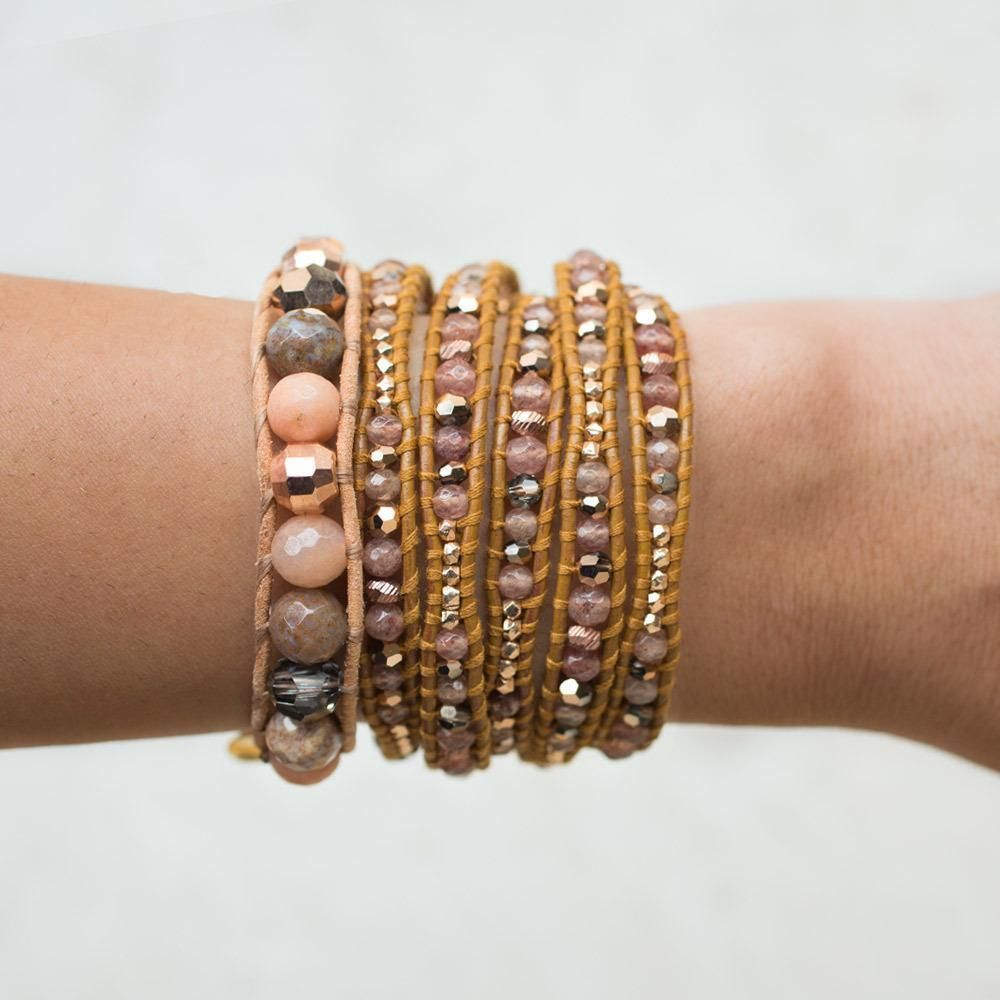25 Magnificent Henna Cuff Designs For Inspiration: New Auth Chan Luu Strawberry Quartz Mix Five Wrap Bracelet