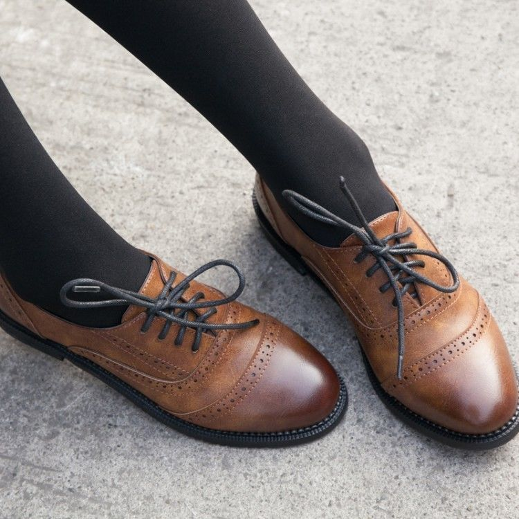 50d78a00ef0 Ladies Vintage FAUX Leather Round Toe Lace Up Brogues Womens Riding Shoes  oxford